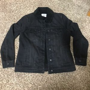 Old Navy Black Denim Sherpa Jacket Size Small